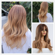 TINY LANA Women's Black Brown Blonde Ombre Wig Long Wavy Heat Resistant Syntheti