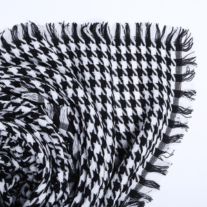 Image 5 - women winter thick fashion soft warm lady cashmere white and black long houndstooth scarf with tassel