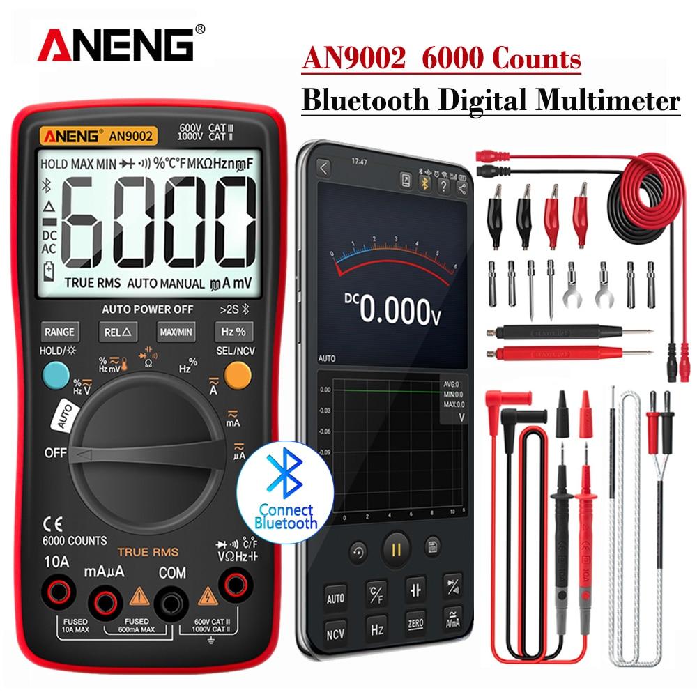 Multimètre numérique ANENG AN9002 Bluetooth 6000 comptes multimétrotrue RMS testeur de tension de courant alternatif/cc gamme automatique