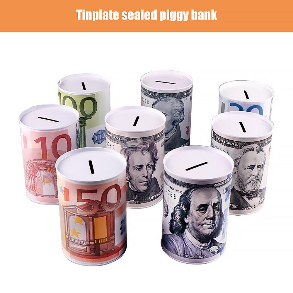 Creative Euro Dollar Metal Cylinder Piggy Bank Saving Money Box Home Decoration Tin Piggy Bank Child Piggy Bank Dropship