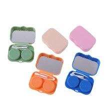 Przenośny Mini piękny kieszonkowy futerał na okulary kontaktowe zestaw podróżny łatwe do przenoszenia soczewki lustrzane pudełko pojemnik soczewki Soak futerał do przechowywania