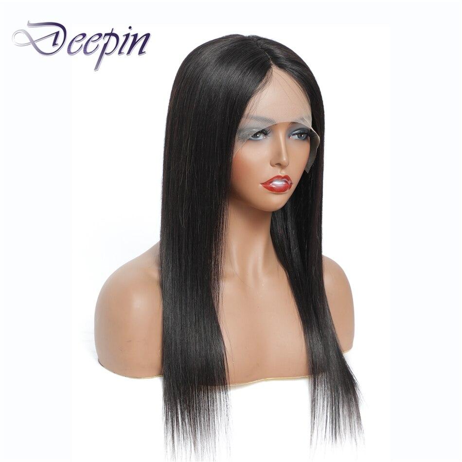 Глубокие волосы 13x1, парики из человеческих волос с кружевной частью, парик с T-образной кружевной частью, натуральный цвет, малазийские прям...