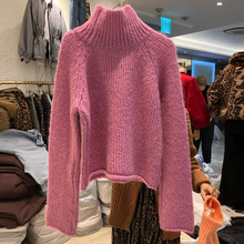 2019 Autumn Sweater New Style Women Candy Color Stand-down Turtleneck Pullovers