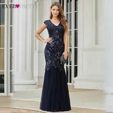 Evening-Dresses Ever Pretty Mermaid Navy-Blue Elegant Sequined Long V-Neck EP00923NB