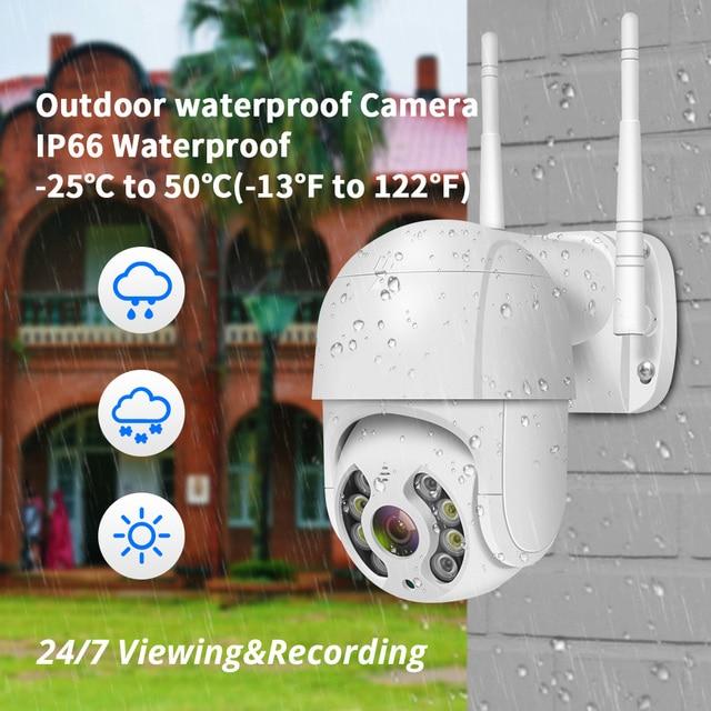 Hiseeu 3MP WIFI IP Camera Outdoor HD Full Color Night Vision PTZ Waterproof Security Speed Camera AI Human Detection ICSee 4
