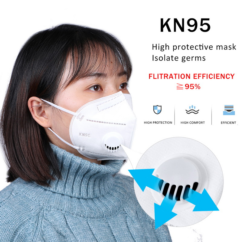 In Stock! 10Pcs KN95 Folding Valved Dust Masks PM2.5 Anti Virus Formaldehyde Bacteria Proof Face Mouth Mask Safe Breathable