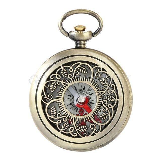 Vintage Bronze Compass Pocket Watch Design Outdoor Hiking Navigation Kid Gift Retro Metal Portable Compass Drop Shipping 1