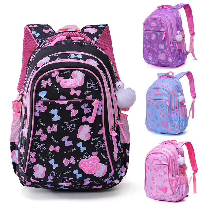 2020 New Arrivals Girls School Bags Bowknot Print Backpack Waterproof Elementary School Backpacks Large Capacity Mochila Escolar