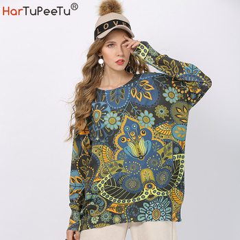 Sweater Vintage Women Oversize 2020 Autumn Stylish Print Knit Sweaters Loose Stylish Print Batwing Long Sleeve Pullover Tops figure print batwing sleeve top
