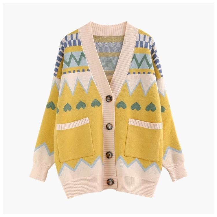 H.SA Women Sweater Cardigan Knitted Long Cardigan V Neck Retro Vintage Geomertric Oversized Cardigans Button Up Casaco Feminino
