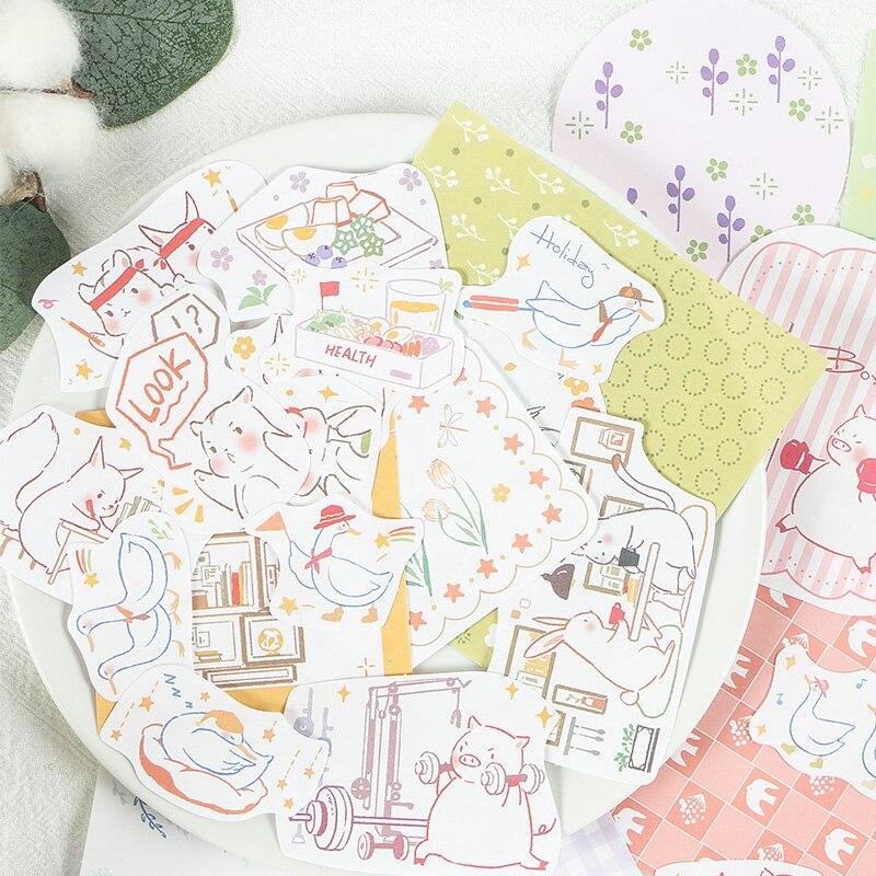 Mohamm 40PCS Reams of Dream Series Creative Kawaii Cute Cartoon Animals Handbook Decoration Sticker
