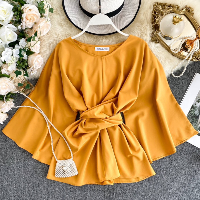 Women's Shirt Spring Autumn New Tide Ins Super Fire Lacing Waist Lady Temperament Flare Sleeve Solid O-neck Wild Shirt Top ML649