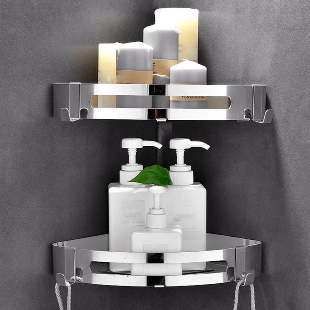 Punching Free Bathroom Rack 304 Stainless Steel Single Deck Triangle Square Basket Shelf Shampoo Storage Organizer