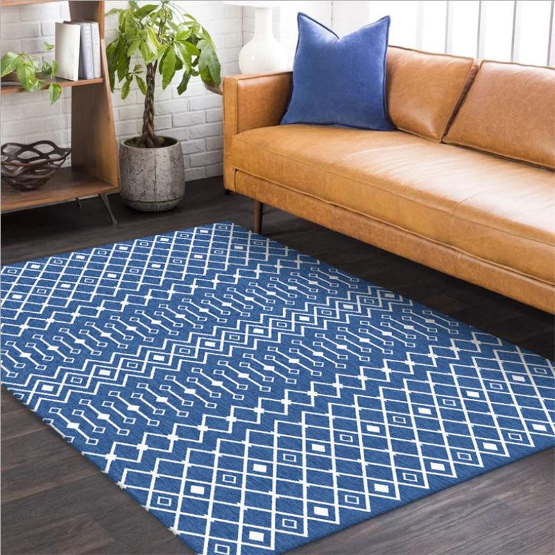Living Room Blue Diamond Geometric