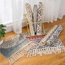 Bohemian Cotton Linen Hand Woven Rugs Geometric Floor Mat Bedroom Living Room Carpet With Tassels Home Decoration 60x90CM