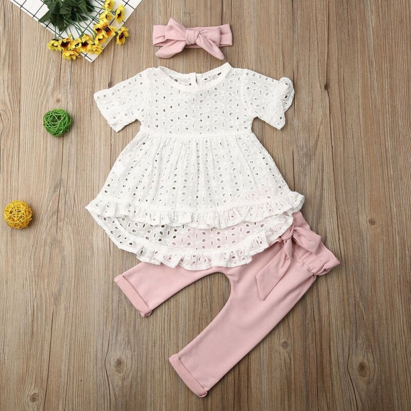 CANIS 3Pcs Newborn Infant Baby Girl Clothes Short Sleeve Hollow Out Tops T-Shirt Dress Bowknot Pants Headband Outfit