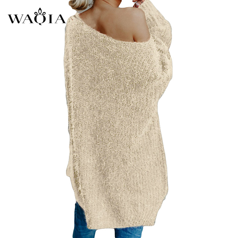 Womens off the shoulder knit pullover Autumn long sleeve Knitted Sweaters 19 Winter Tops For Women Pullover Jumper Pull Femme 7