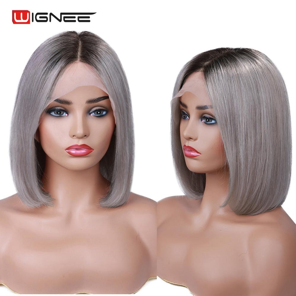 Wignee Middle Part Ombre Grey/613 Blonde/Pink Lace Front Human Bob Wigs For Black Women 150% Density Remy Hair Lace Human Wigs
