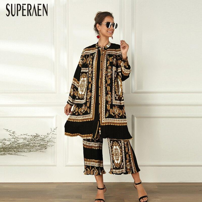 SuperAen Europe Fashion Women Dress Printed Spring New 2020 Wild Casual Ladies Dress Lapel Pluz Size Women Clothing