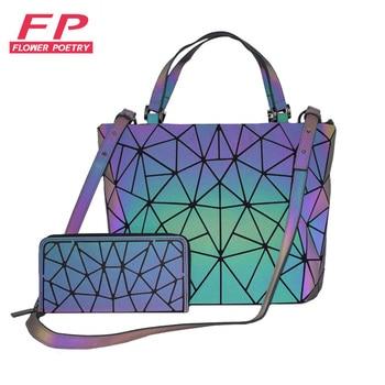 2019 New Women Handbags 2 Pcs Bag Set Crossbody Bags For Women Geometric Luminous Shoulder Bag Female Purse and wallet Totes