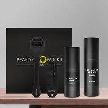 Kit rehausseur de croissance de la Barbe, 4 pièces/ensemble, huile essentielle pour nourrir la Barbe, soins du visage avec peigne