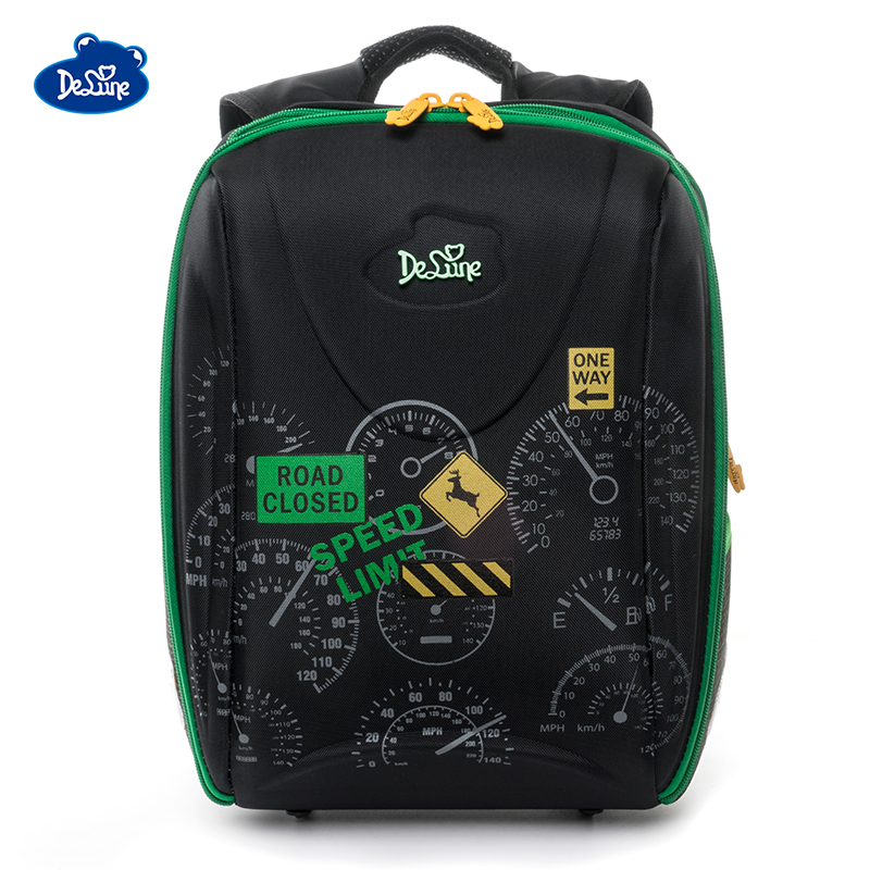 Delune Brand Cars Print School Bags For Boys 7-111 3D Orthopedic Children School Backpack 5-9 Years 1-5 Grade Cartoon School Bag