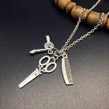 2020 collar de joyería Vintage Herramientas-secador de pelo/tijera/peine/Espejo colgantes collar Barbero-peluquería collar presente