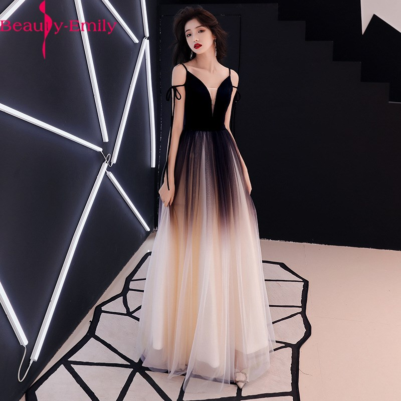 Elegant V Neck Gradient Color Evening Dress 2020 Fashion Lace Spaghetti Strap Long Evening Gowns For Women Real Photo