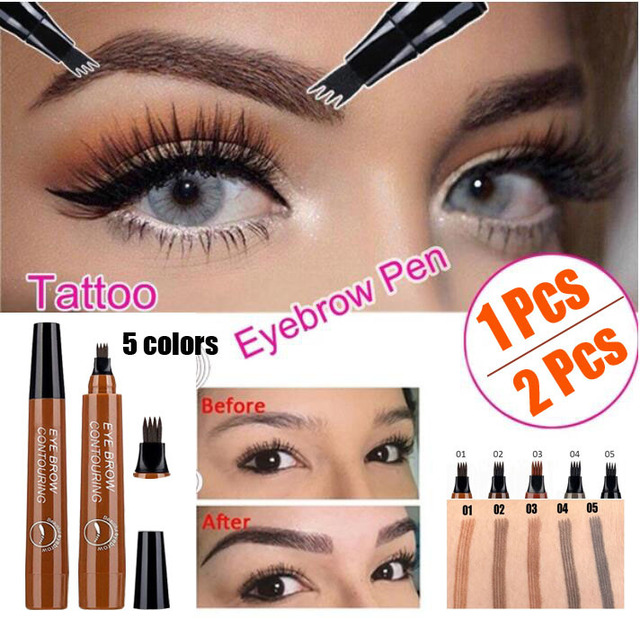 Microblading Eyebrow Pen Waterproof Fork Tip Eyebrow Tattoo Pencil Long Lasting Professional Fine Sketch Liquid Eye Brow Pencil 2