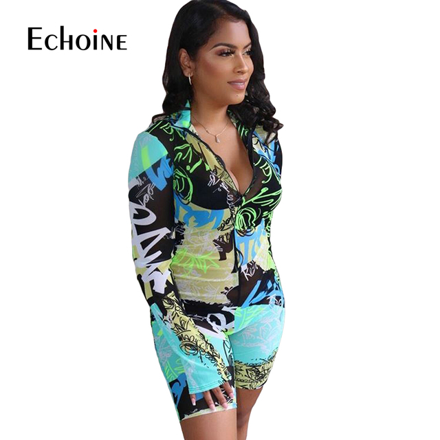 Echoine Tie-Dye print Women zipper up bodycon skinny short Jumpsuit Romper Fitness Sexy Night Party playsuit One Piece Outfit 3