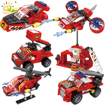 HUIQIBAO 387pcs 6in1 Fire Fighting Trucks Car Helicopter Boat Building Blocks City Firefighter Firemen Figures Bricks Toys Child 5