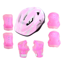 купить 7-piece Children's Roller Skating Bicycle Helmet Knee Pads Wrist Elbow City Road Bike Kid Outdoor Sports Riding Helmet дешево