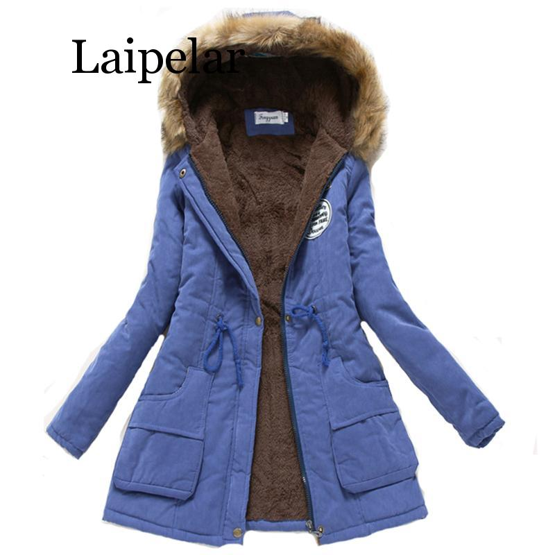 Laipelar 2019 women winter thicken warm coat female autumn hooded cotton fur plus size   basic     jacket   outerwear slim long ladies