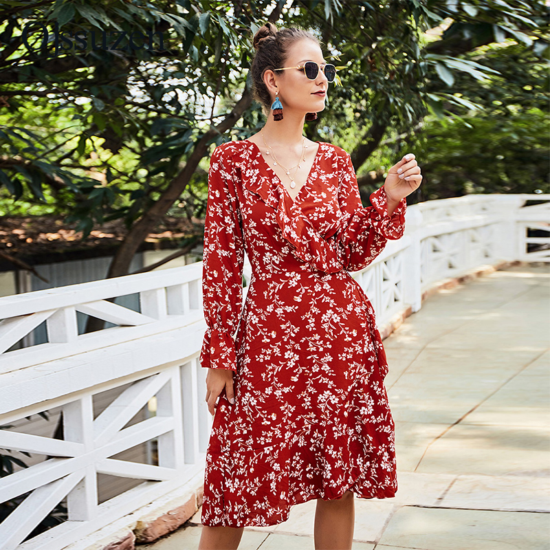 Floral Printing V Neck Dress Women's Spring Lace Up Vestidos Woman's Flare Long Sleeve A- Line Dresses Ladies Autumn