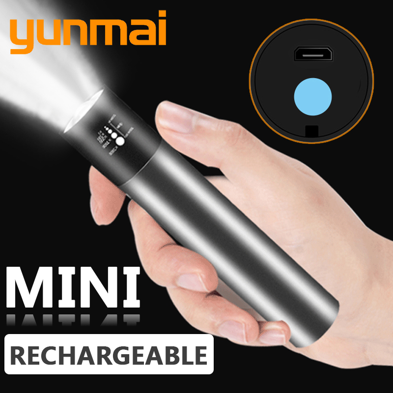 Mini LED Flashlight USB Rechargable 3 Lighting Mode Waterproof Torch Telescopic Zoom Stylish Portable Suit For Night Lighting