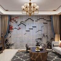 Paisagem estilo chinês 3d personalizado cortinas da foto natural drapeja painel sheer tule cortinas para sala de estar quarto porta