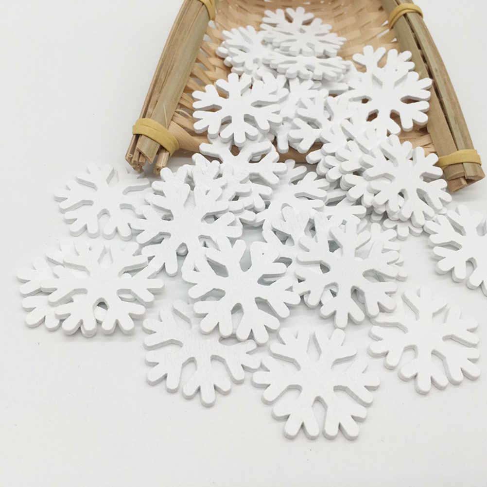 100 pcs Wooden Snow Flake Mini Wood Ornament for Wedding Christmas Decoration New Year