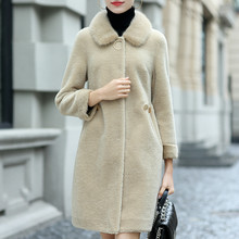 Natural Wool Jacket Women Real Mink Fur Collar Overcoat Winter Sheep Shearing Coats Female Warm Spring Clothes LWL1387(China)
