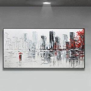 Image 5 - Decoración de la boda pintado a mano pintura al óleo sobre lienzo moderno de gran tamaño Arte Abstracto Decoración de casa colgar de la ciudad lluviosa construir