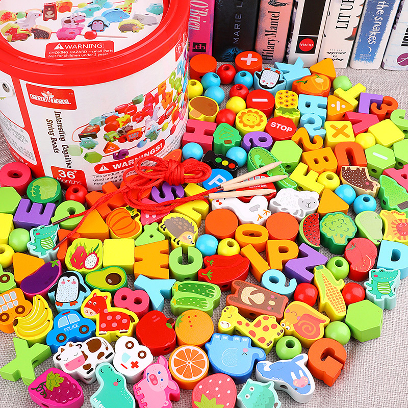 Children Beaded Bracelet Sub-Toy Building Blocks Boy Handmade Threading Wooden 3 Baby Bead-stringing Toy Colorful Box 1-2 A Year