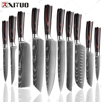 xituo 2018 new damascus knife 8 inch professional chef knife 67 layer japanese damascus steel vg 10 blade kitchen knives forging XITUO Kitchen Knife Set Japanese Chef Knives Stainless Steel Cleaver Butcher Santoku Knife Tool Laser Damascus Pattern Blade New