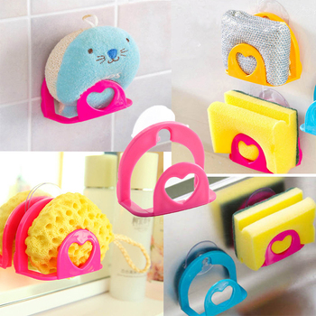 heart shaped sponge holder Multi-functional Suction Cup soap Sink towel Drain rack Kitchen bathroom restroom Organizer Shelf image