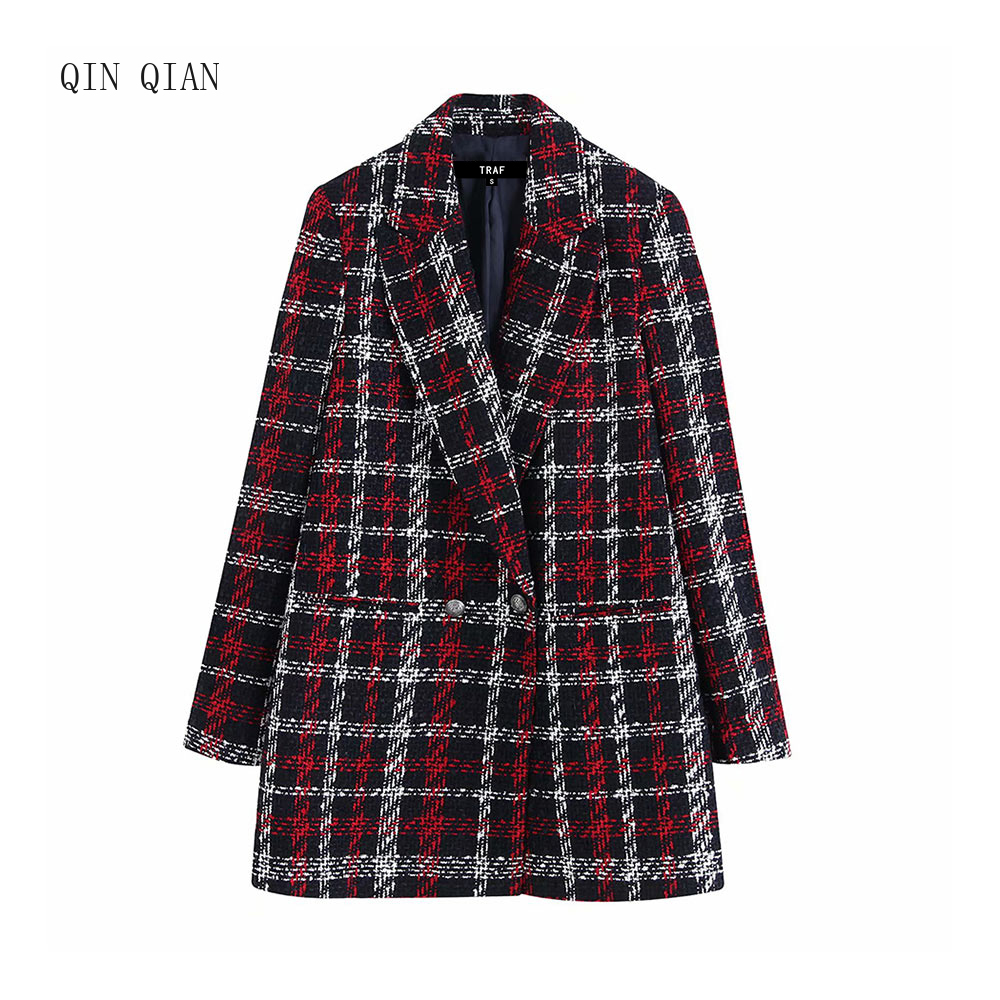 Women Office Lady Plaid Double Breasted Tweed Blazer Coat Vintage Fashion Long Sleeve Pockets Ladies Outerwear Chic Tops