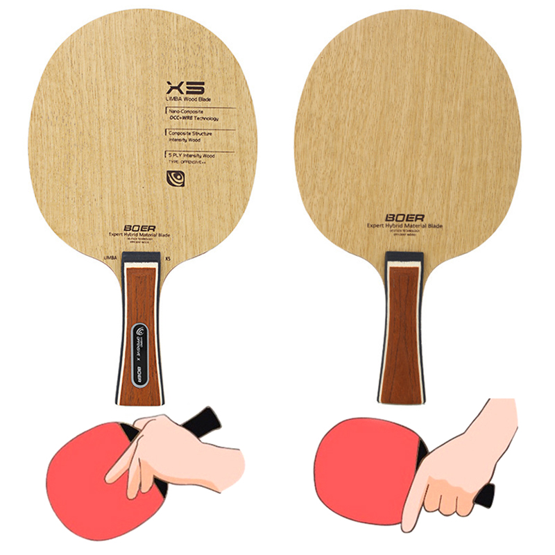1 Pc BOER Table Tennis Paddle Shakehand/ Penhold Ping Pong Bat Racket 5 Layers Durable Bottom Plate Without Rubber
