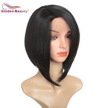 """12 """"peruka z krótkim bobem dla kobiet syntetyczna koronka peruka front na imprezę cosplay peruka włókno termoodporne czarny srebrny Ombre Golden Beauty"""
