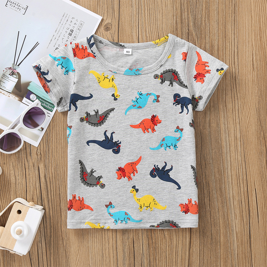 Girls T-Shirt Tops Short-Sleeve Dinosaur Baby Kids Boys Cartoon Cotton Fashion Children's title=