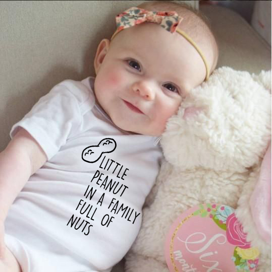 Little Peanut In A Family Full Of Nut Letter Print Summer Baby Boys Girls Bodysuit Toddler Playsuits Kids Cute Jumpsuits Outfits