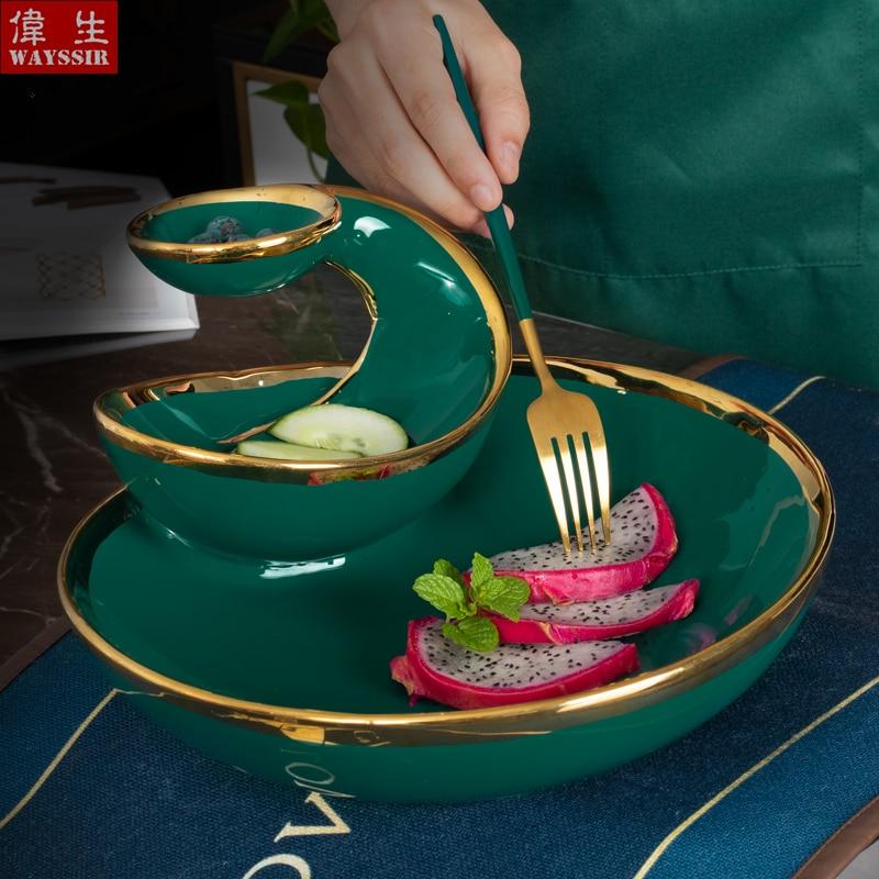 Роскошная многослойная керамическая тарелка в скандинавском