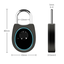USB Smart Fingerprint Lock Rechargeable Keyless IP66 Waterproof Anti-Theft Digital Padlock for Locker, Door, Luggage, Backpack
