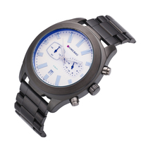 방수 남성 쿼츠 크로노 그래프 시계 럭셔리 스포츠 시계 블랙 스테인레스 스틸 날짜 표시 시계 군사 relogio masculino